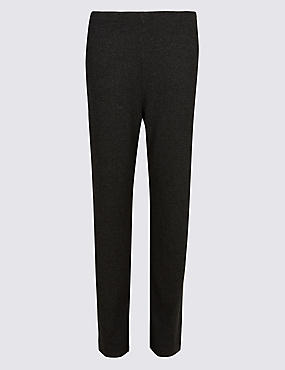 Herringbone Textured Straight Leg Trousers