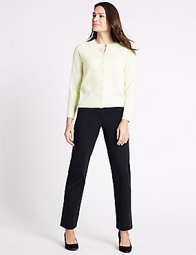 Cotton Rich Straight Leg Trousers
