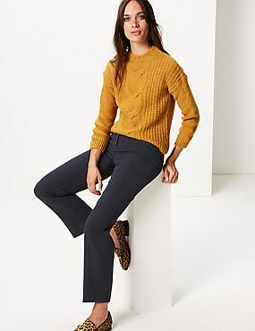 Zipped Pocket Straight Leg Trousers, DARK NAVY, catlanding