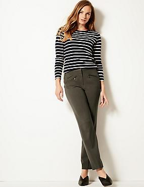 Zipped Pocket Straight Leg Trousers, DARK GREY, catlanding