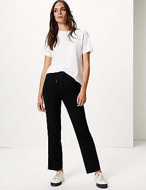 Zipped Pocket Straight Leg Trousers, BLACK, catlanding
