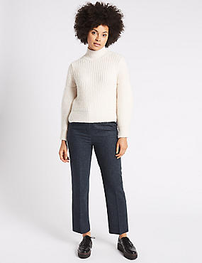 Wool Rich Cropped Straight Leg Trousers