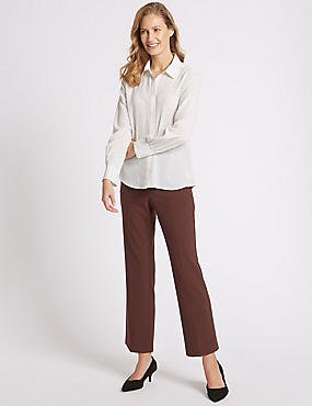 Elastic Back Straight Leg Trousers, CHOCOLATE, catlanding