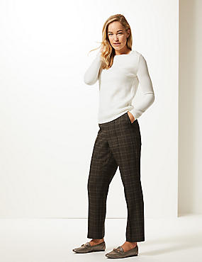 Textured Straight Leg Trousers , BROWN MIX, catlanding