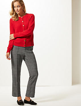 Textured Straight Leg Trousers , BLACK MIX, catlanding