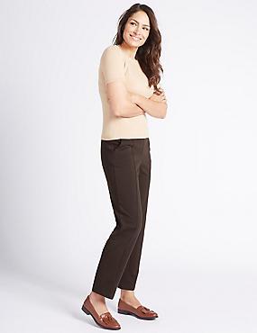 Ponte Straight Leg Trousers, CHOCOLATE, catlanding