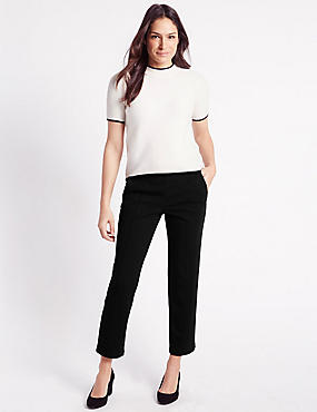 Pull-On Straight Leg Trousers