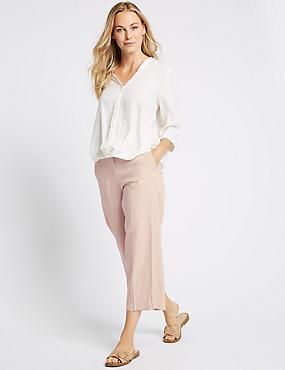 Linen Rich Straight Leg Trousers , PINK, catlanding