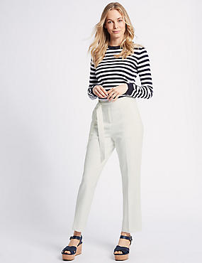 Belted Straight Leg Trousers