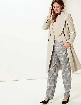 Relaxed Straight Leg Checked Trousers, GREY MIX, catlanding