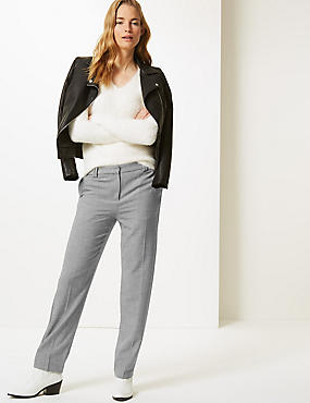 Relaxed Straight Leg Checked Trousers , BLACK MIX, catlanding