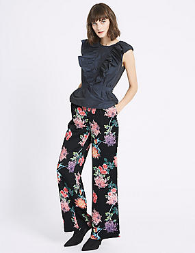 Oriental Floral Print Trousers