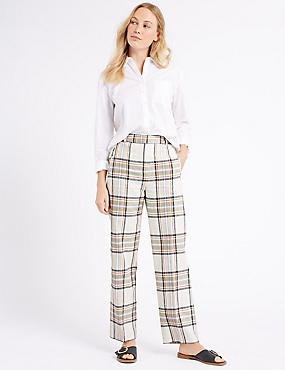 Linen Rich Checked Straight Leg Trousers, IVORY MIX, catlanding
