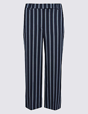 PETITE Striped Wide Leg Cropped Trousers , NAVY MIX, catlanding