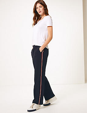 Tapered Leg Trousers , NAVY MIX, catlanding