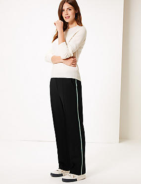Tapered Leg Trousers , BLACK MIX, catlanding