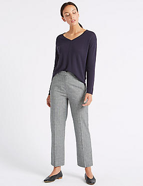 Linen Blend Checked Trousers , GREY MIX, catlanding