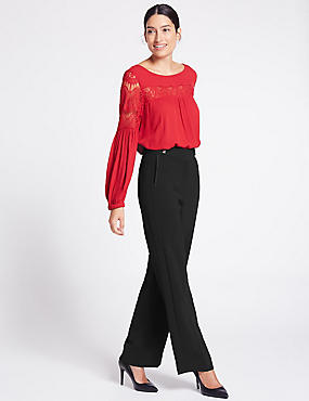 Grosgrain Detail Wide Leg Trousers