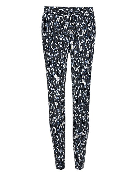 Textured Print Tapered Leg Trousers