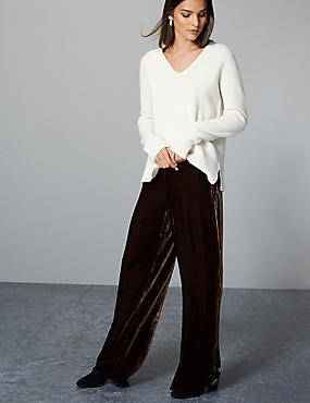 Velvet Wide Leg Trousers with Silk, COCOA, catlanding