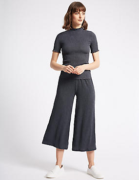 Crinkle Textured Wide Leg Culottes
