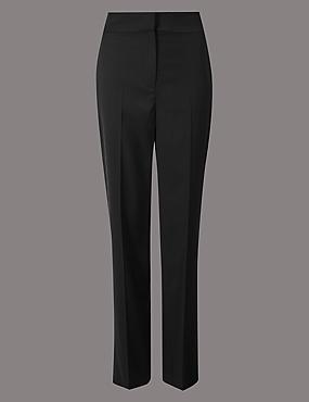 Wool Blend Straight Leg Trousers , BLACK, catlanding