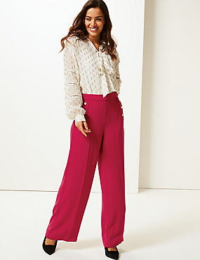 Wide Leg Trousers, RED, catlanding