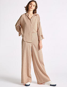 Striped Wide Leg Trousers , PINK MIX, catlanding