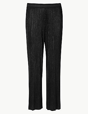 Cropped Wide Leg Trousers, BLACK, catlanding