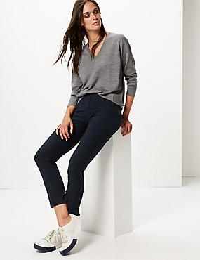 Modern Slim Leg Trousers, DARK NAVY, catlanding