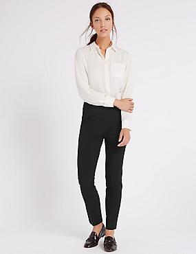 Modern Slim Leg Trousers, BLACK, catlanding