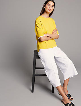 Cropped Wide Leg Trousers, SOFT WHITE, catlanding