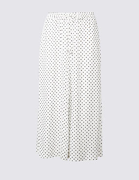 Spotted Cropped Wide Leg Trousers