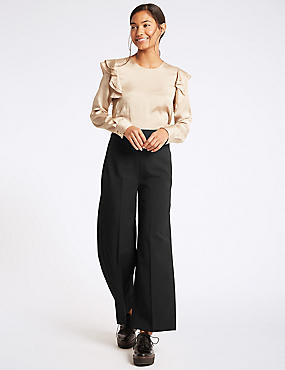 Ankle Grazer Flat Front Wide Leg Trousers