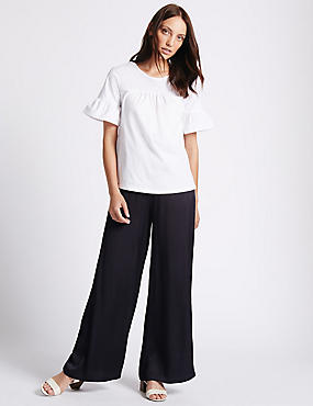 Hammered Wide Leg Trousers