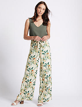 Printed Hammered Wide Leg Trousers