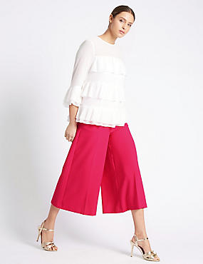 Button Detail Wide Leg Cropped Trousers