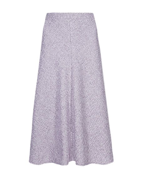 Textured Tweed A-Line Skirt with Wool