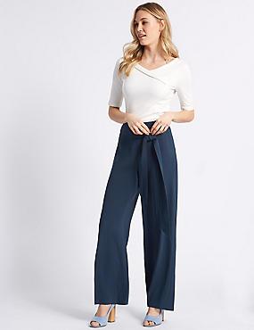 Wide Leg Trousers , NAVY, catlanding