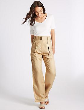 Linen Rich Wide Leg Trousers , STONE, catlanding
