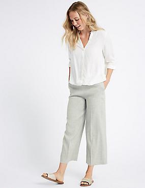 Linen Rich Wide Leg Cropped Trousers , LIGHT GREY, catlanding