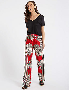 Floral Print Wide Leg Trousers , RED MIX, catlanding