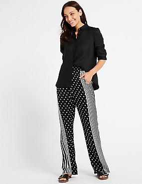 Spotted Wide Leg Trousers , BLACK, catlanding