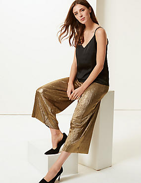 Sparkly Wide Leg Trousers, GOLD MIX, catlanding