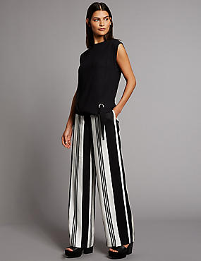 Variegated Stripe Wide Leg Trousers
