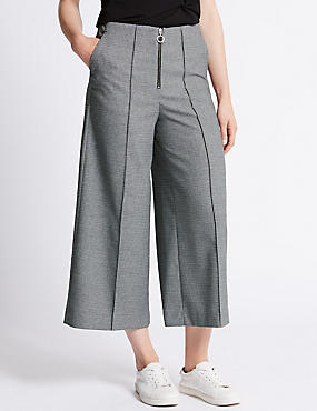 Wide Leg Cropped Formal Trousers