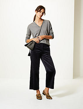 Corduroy High Waist Cropped Trousers, NAVY, catlanding