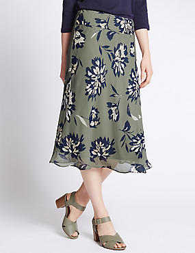 Tailored Fit Floral Midi Skirt
