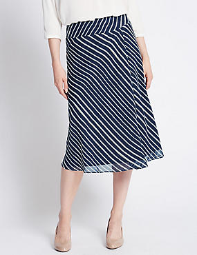 Tailored Fit Striped Midi Skirt
