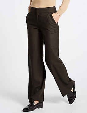 Herringbone Wide Leg Trousers